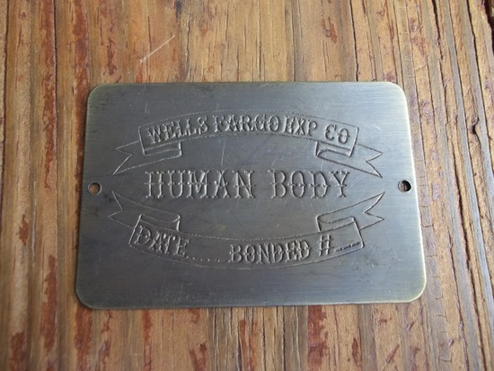 Brass Wells Fargo Express Co Human Body Toe Tag Date Bonded Old West