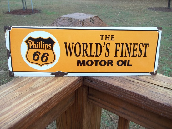 Porcelain Phillips 66 The World's Finest Motor Oil Sign Station Pump Plate Sign