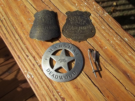 2 Brass Wyatt Earp Gun Grip Tags From People Of Dodge City 1878 & Marshal Deadwood Badge