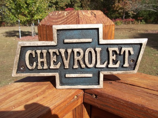 Thick Heavy Cast Iron Chevrolet Bowtie Sign Plaque Chevy Car Sign