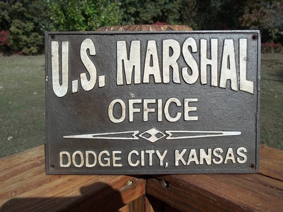 Heavy Cast Iron U.S. Marshal Office Dodge City Kansas Sign Plaque Wall Sign Old West