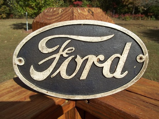 Thick Heavy Cast Iron Oval Ford Motor Company Logo Sign Plaque