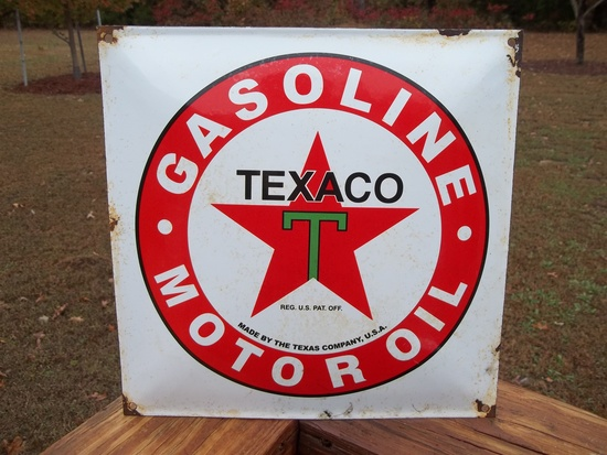 Porcelain Texaco Gasoline Motor Oil Made By The Texas Company USA Pump Gas Station Pump Plate