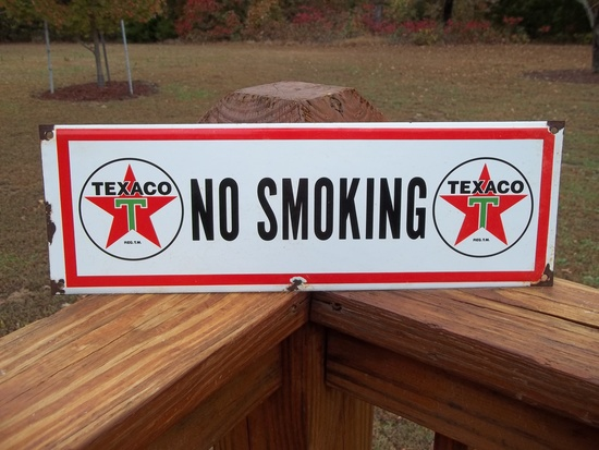 Porcelain Texaco No Smoking Sign Gas Pump Plate Station Sign