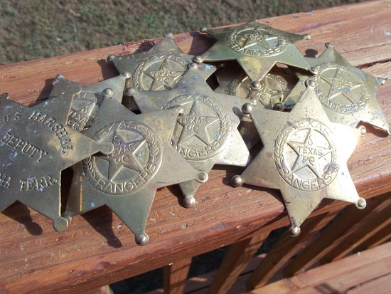 Lot Of 8 Brass Texas Rangers Badges & 1 Brass US Marshal Deputy Oklahoma Territory Badge