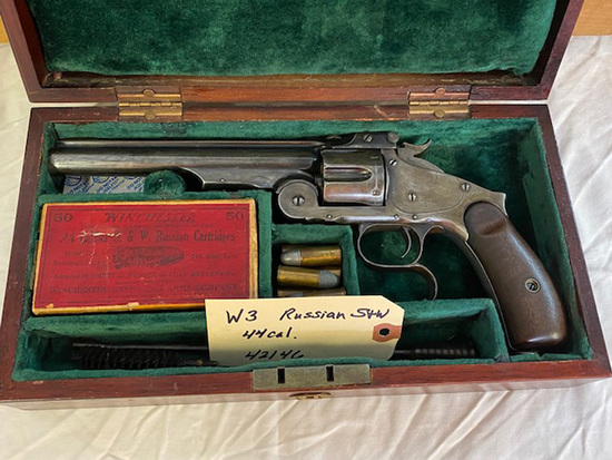 Smith & Wesson Russian Model 44 S&W Russian Cal. w/Wooden box, ammo, ammo box, and cleaning rods