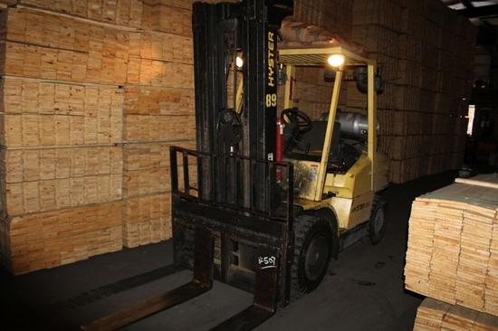 Hyster Model H80XM Forklift - 8000lb. Cap. S/N K005V05081A.  LP Gas, Triple Mast w/Side Shift, 21,84