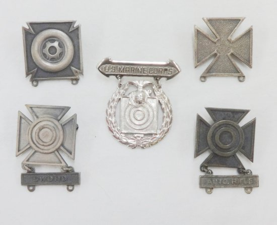 5 Misc. WWII/Later US Marksmen Badges