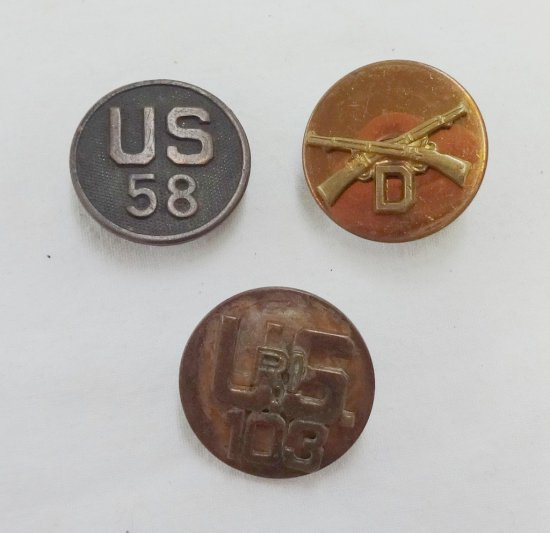 3 Pieces WWI/WWII US Army EM Collar Disks
