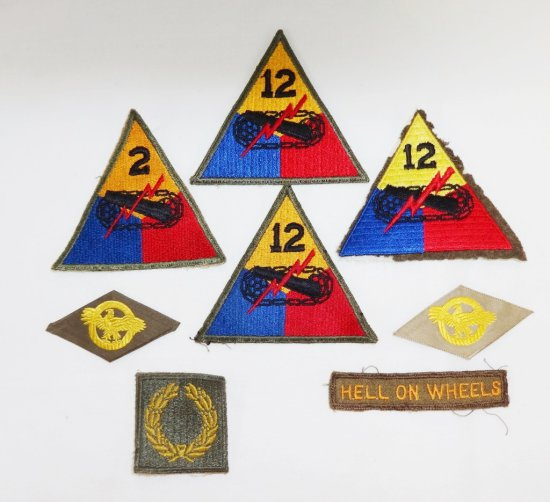 8 Pieces WWII Period Patches-Armored Division, Ruptured Duck, Etc.