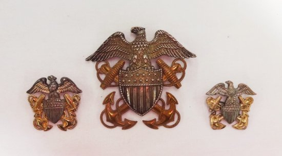 3 Pieces WWII Period USN Cap Badges-Sterling