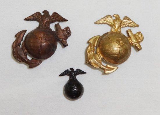 3 Pieces WWII Period USMC EGA Cap Insignia