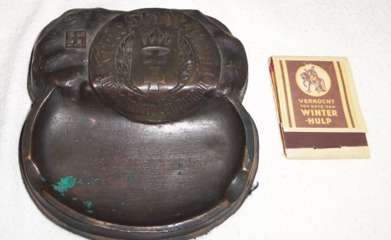 "Rare Bronze Nazi Ashtray-""Freie Stadt Danzig""-Wood Book Matches"
