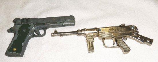 2pcs-Miniature Metal Weapons-.45 Pistol-Machine Gun