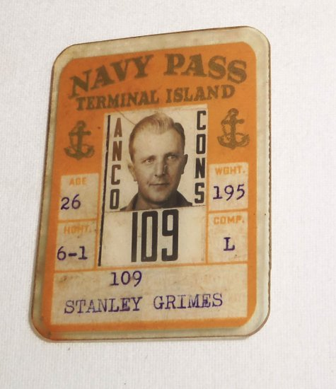 WWII Terminal Island Navy Pass ID Card