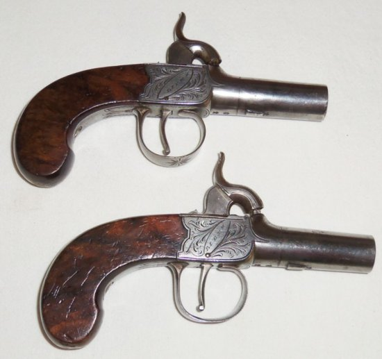Matching Pair Cased English Carriage Percussion Pistols
