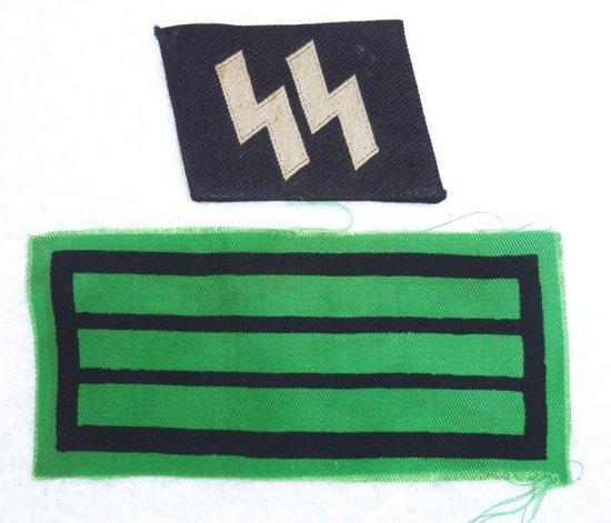 2 pcs. - Waffen SS Collar Tab/Sleeve Rank