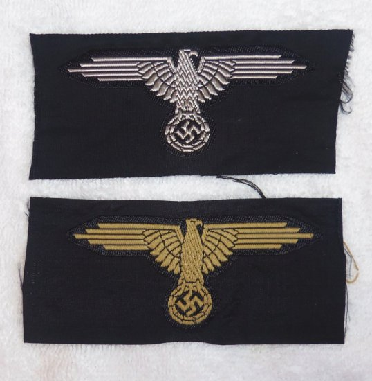 2 pcs.  - Waffen SS EM/NCO Sleeve Eagles - Tropical and Standard