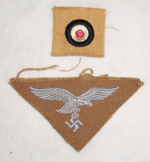 2 pcs. Scarce Luftwaffe Tropical Breast Eagle/Cap Insignia