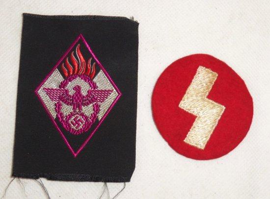 2 pcs. WWII HJ Insignia - Fireman Helper Patch/Jungvolk