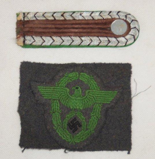 2 pcs. WW2 Schutz Polizei Shoulder Board/Arm Eagle