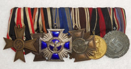 6 Place WWII Parade Mount Ribbon Bar-NSDAP Long Service Medals