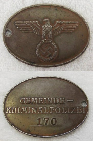 Extremely Rare WW2 Nazi Police Warrant Disc-KRIPO with COA
