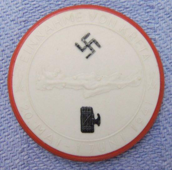 Scarce Nazi Porcelain Medallion-Fallschirmjager Taking of Kreta