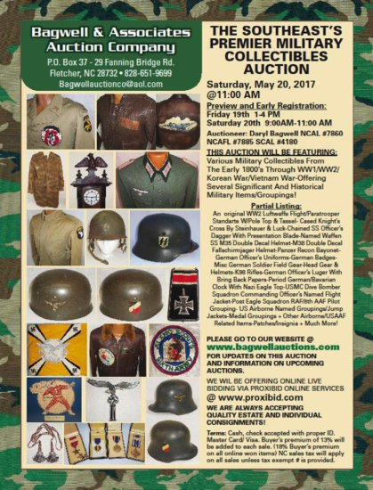 OUR NEXT AUCTION WILL BE SATURDAY MAY 20, 2017 BEGINNING @11AM EASTERN STANDARD TIME