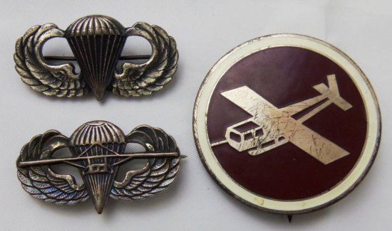 3 Pieces-WW2 US Airborne Para-Glider Troops Wings/Enamel Glider Badge-English Made