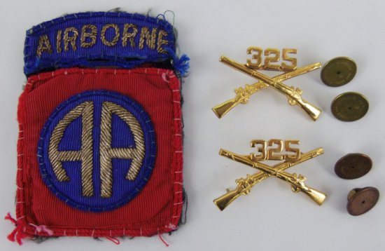 3pcs-WW2 US Airborne Glider Troops 325th Officer's Collar Insignia/Bullion 82nd Patch