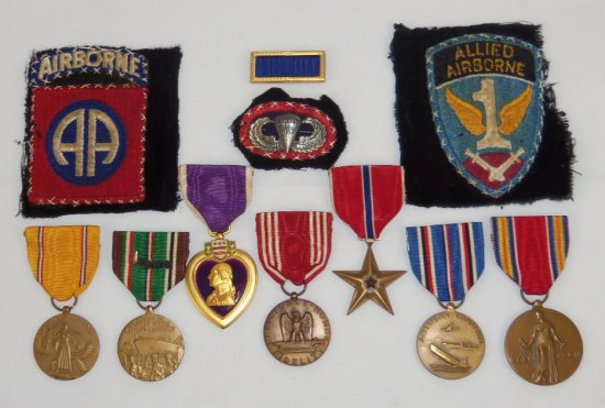 WWII 82nd Airborne/505th PIR Named Medal Grouping-Purple Heart-Bronze Star-Jump Wings W/Oval Etc.