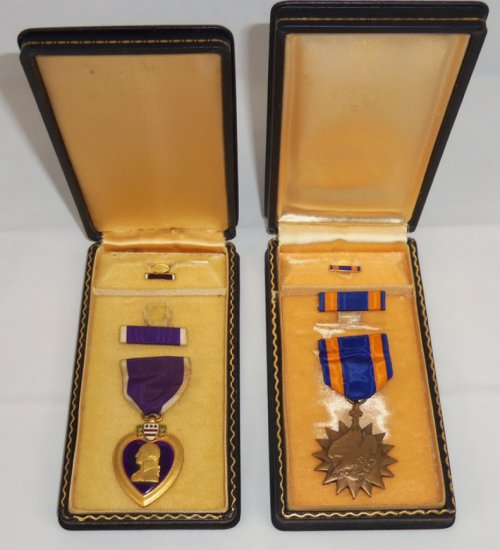 B-24 Pilot KIA Engraved Purple Heart/Air Medal-724th Bomb Sq./451st Bomb Grp.