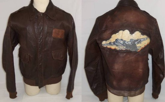 "WW2 Period Lightweight Leather A-2 ""Walking Out"" Jacket-Named To Air Gunner With Bomber Art Patch"