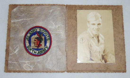 Rare WW2 US Army ALAMO SCOUTS Shoulder Patch With Original Photo