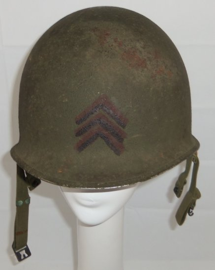 WW2 Airborne/Paratrooper US M1c Helmet With Named Liner-Rear Seam W/Late 1944 Heat Stamp
