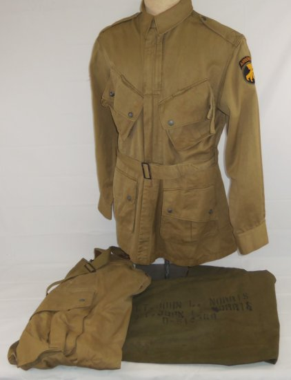 WW2  U.S. Airborne/Paratrooper Jump Jacket W/Pants/Duffle Bag-Named To 17th Airborne Officer