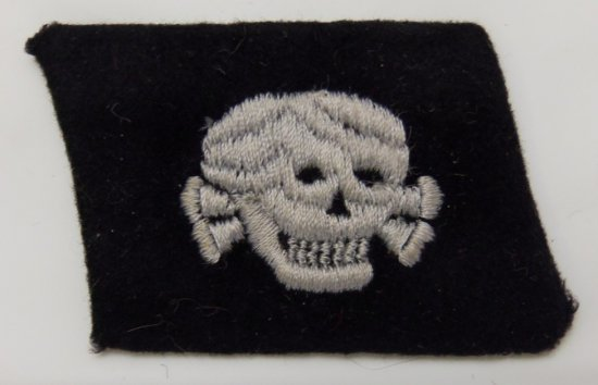 "Waffen SS Totenkopf Collar Tab-Scarce ""Pumpkin Head"" Version"