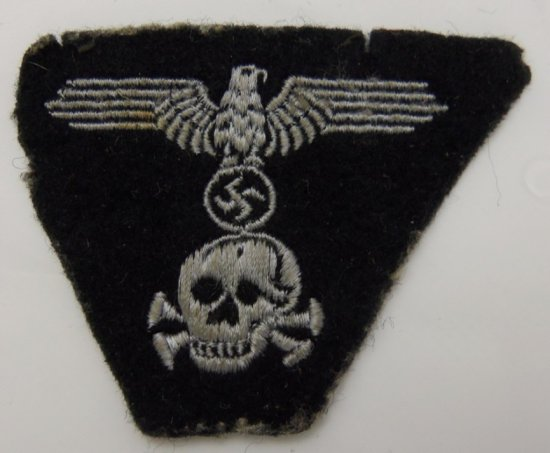 "Scarce ""Pirate Skull"" Panzer SS M43 Cap Insignia-Cap Removed"