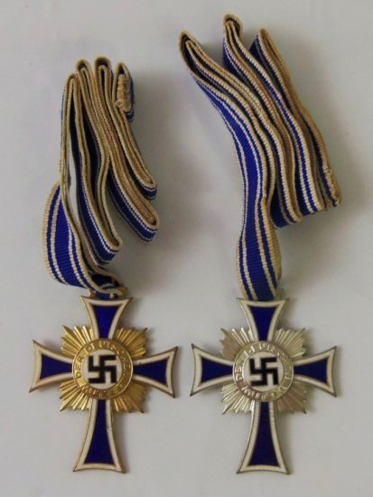 2 pcs. Gold and Silver Mother's Crosses with Ribbons