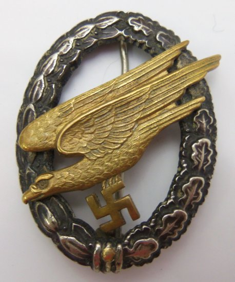 Early Fallschirmjager Badge by Assmann-Named