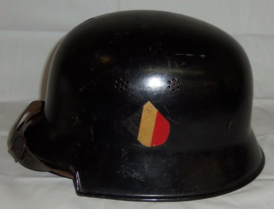 Early M34 German Civil/Fire Police Helmet-Double Decals-Canted Shield/Swastika