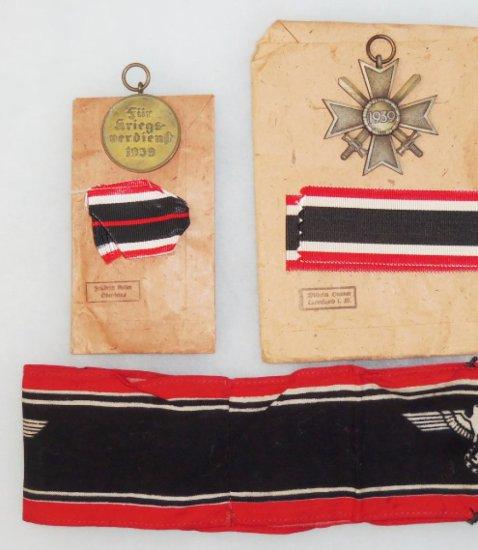 3 pcs. WWII German War Merit Medal/War Merit Cross 2nd Class with Swords/Volkssturm Armband