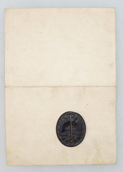 WW2 German Grenadier Wound Badge w/ Award Document-Named