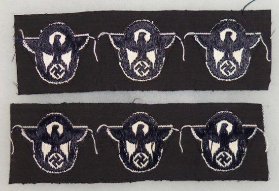 2 pcs. WW2 German Uncut Strips of SS Police Cap Badges