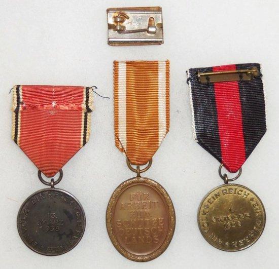 4 pcs. WW2 German Annex Medals - Sudetenland w/Prague Castle Bar-Austrian-RAD Westwall w/Ribbon Bar