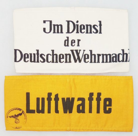 2 pcs. WWII German Luftwaffe/In the Service of German Wehrmacht Printed Armbands
