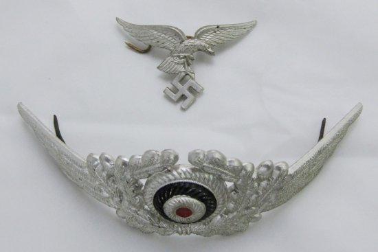 """Scarce Set Early """"Droop"""" Tail Version Luftwaffe Eagle/Wreath Set For EM/Officer Visor Cap-Vet BB"""