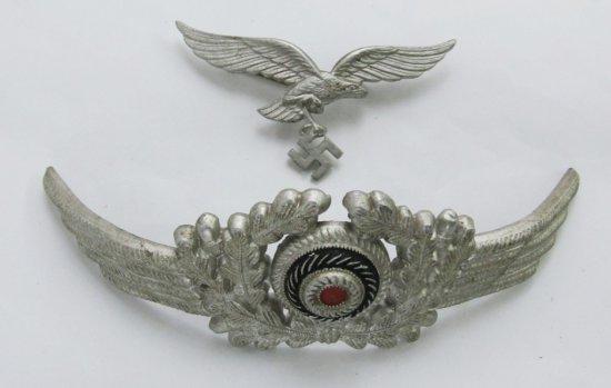 Set2nd Version Luftwaffe Eagle/Wreath Set For EM/Officer Visor Cap-Vet Bring Back