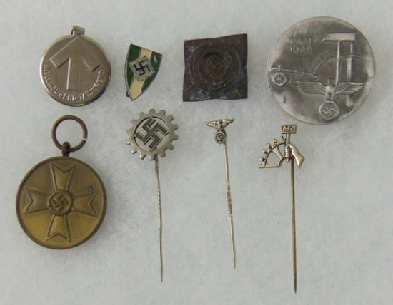 8 pcs. WW2 German Misc. Template/Pins/Stickpins/War Merit Medal